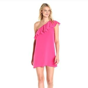French connection one shoulder hot pink dress